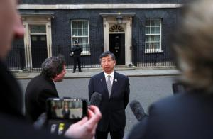 Koji Tsuruoaka, Japan's ambassador to Britain, speaks outside 10 Downing Street after a meeting between Britain's Prime Minister Theresa May and senior members of Japanese companies, in London